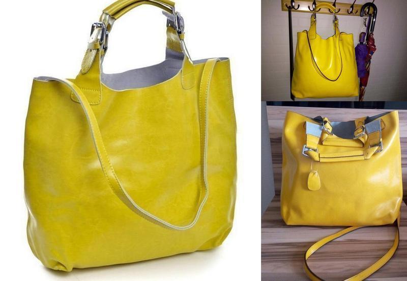 Большая мешок-сумка кожаная женская,сумка-шоппер,стильная и пр...