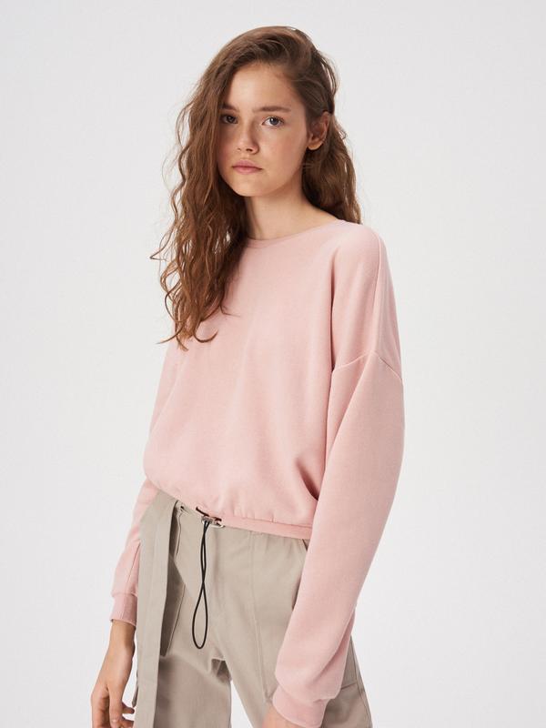 Новая короткая широкая розовая кофта светло-розовый свитшот пу...