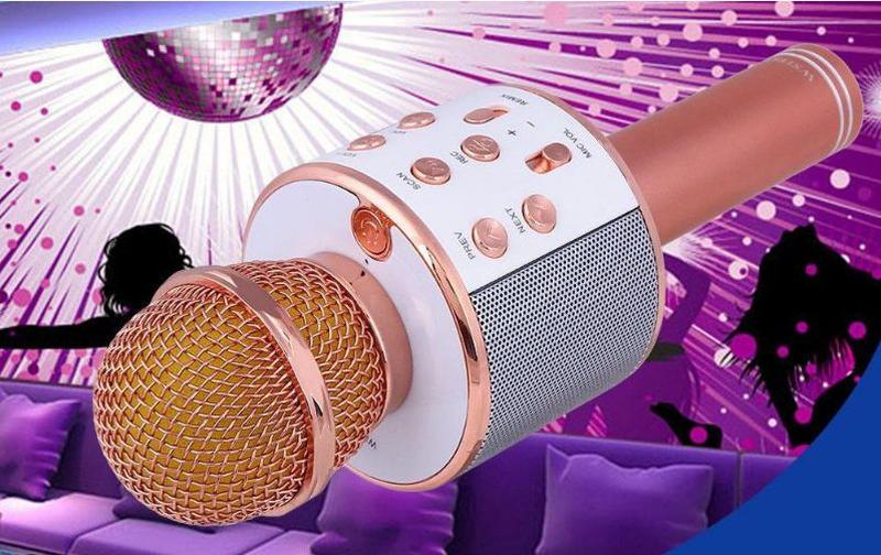 Bluetooth микрофон для караоке с изменением голоса WSTER WS-858 - Фото 8