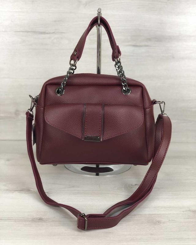 Женская сумочка кросс-боди бордового цвета