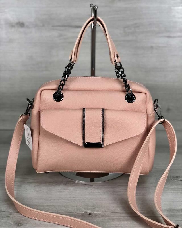 Женская сумочка кросс-боди пудрового цвета