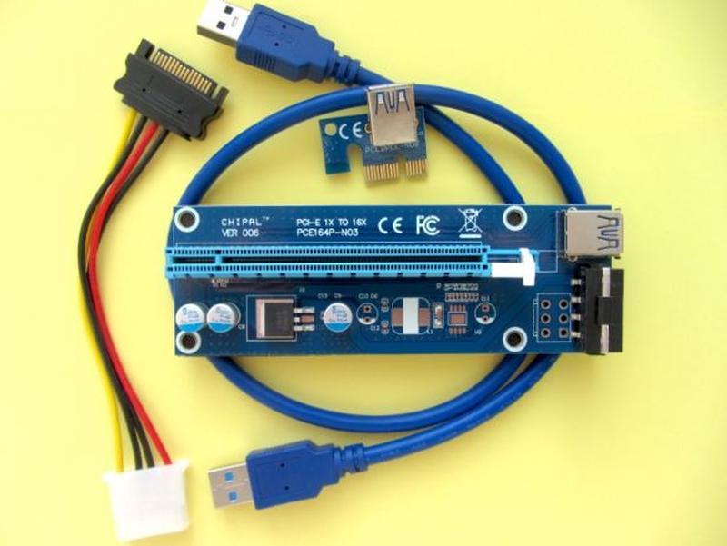 Райзер PCI-E 1x to 16x 60см USB Riser v006S Molex Бесплатная дост