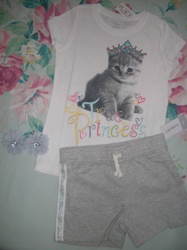Шорты футболка комплект на девочку бренд carter's, childrens p...