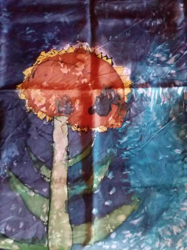"Шелковый платок. принт "" варенка /hand made"