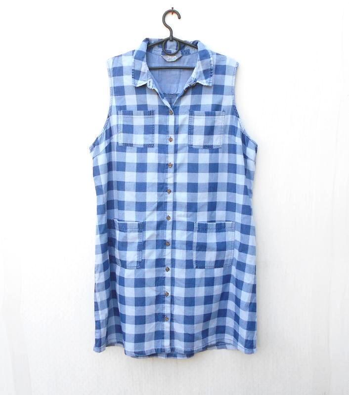 Летнее джинсовое хлопковое повседневное платье рубашка в клетку 🌿