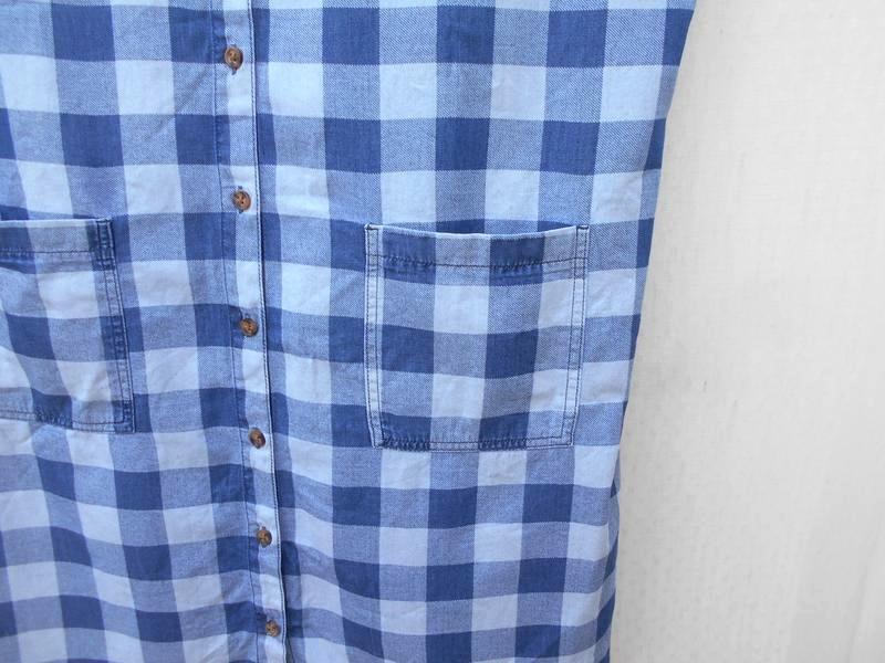 Летнее джинсовое хлопковое повседневное платье рубашка в клетку 🌿 - Фото 2