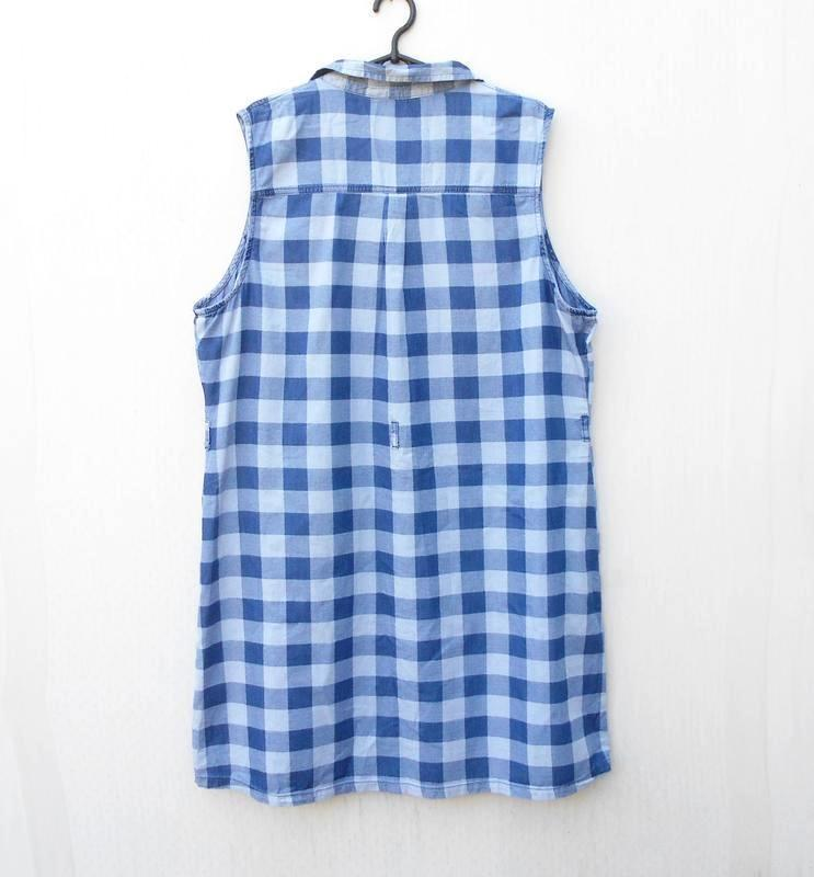 Летнее джинсовое хлопковое повседневное платье рубашка в клетку 🌿 - Фото 3