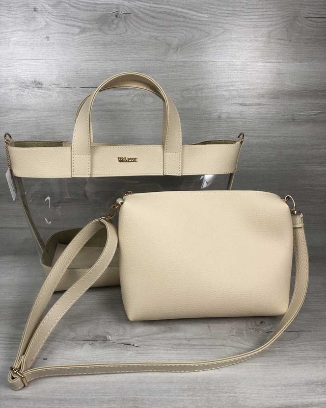 Набор 2в1 прозрачная сумка и косметичка-клатч бежевого цвета