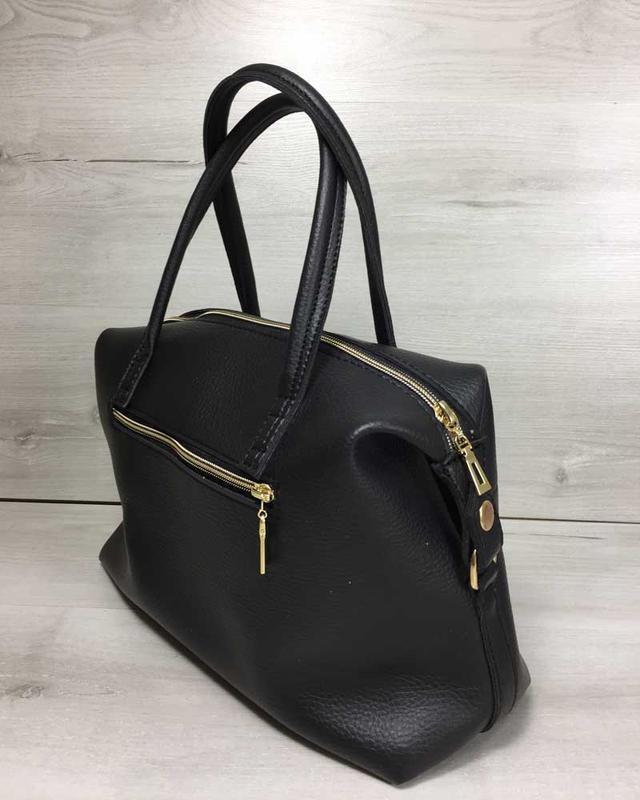 Женская красивая мягкая сумка черного цвета - Фото 2