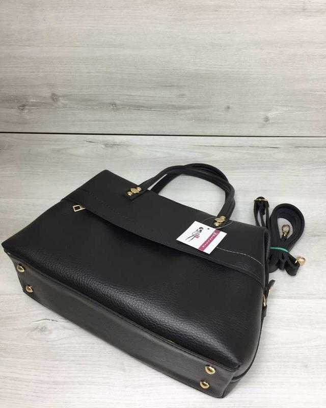 Женская красивая мягкая сумка черного цвета - Фото 3