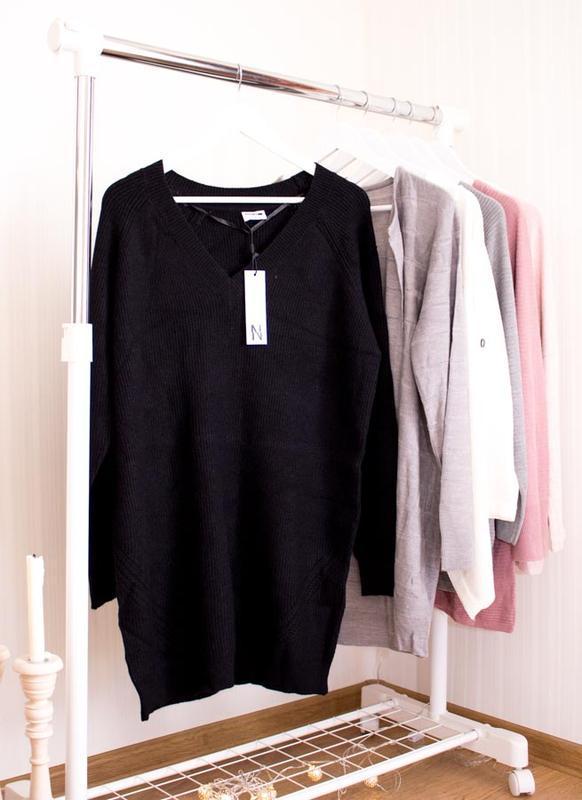 Длинный свитер c vобразным вырезом noisymay в размере xl - Фото 2