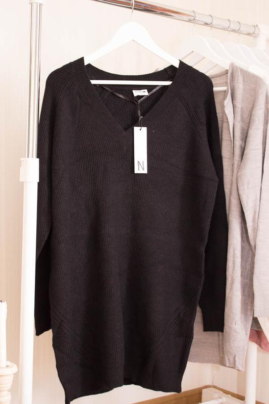 Длинный свитер c vобразным вырезом noisymay в размере xl - Фото 3