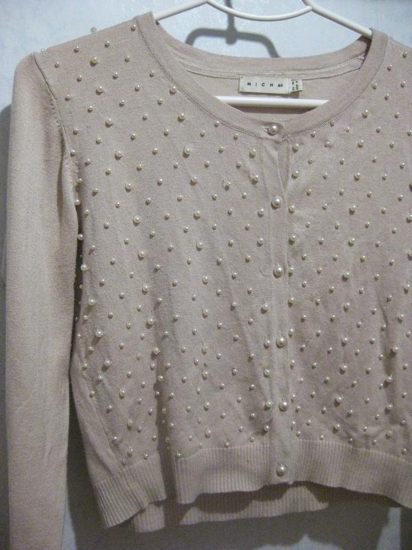 Джемпер кофта micha с бусинами жемчуг бежевая на пуговицах - Фото 2