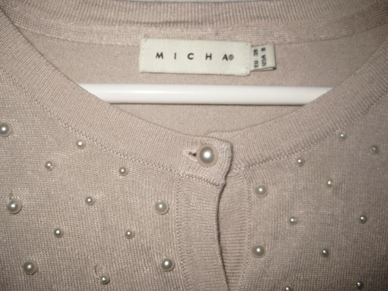 Джемпер кофта micha с бусинами жемчуг бежевая на пуговицах - Фото 3
