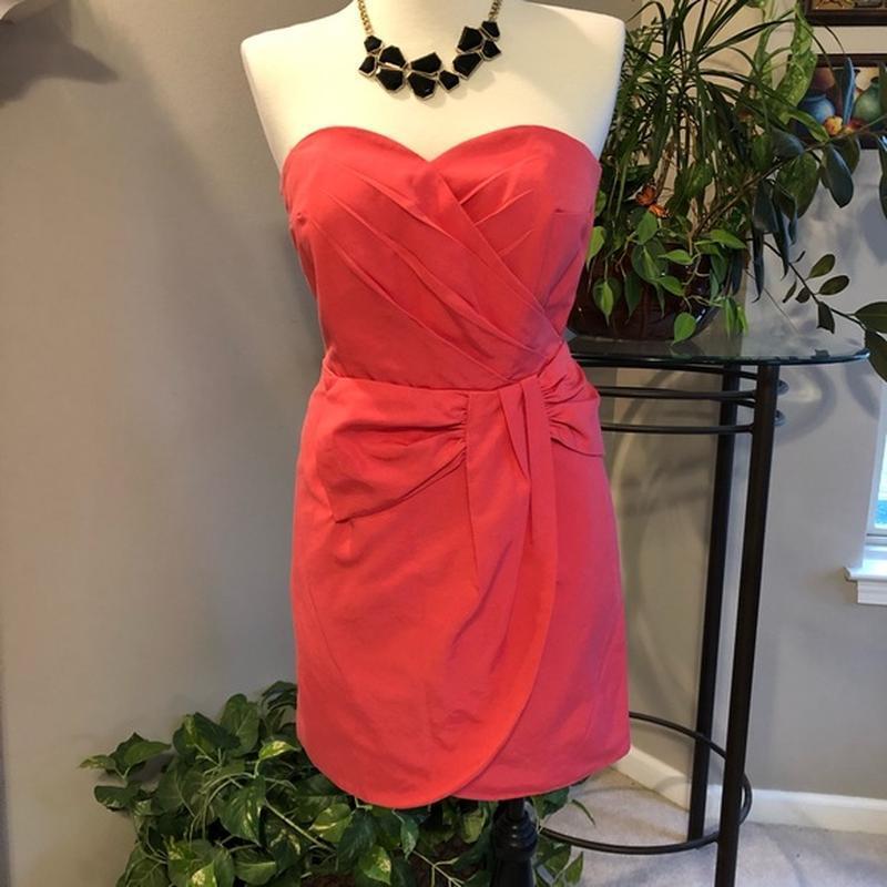 H&m modern classic коралловое платье платье бюстье сукня