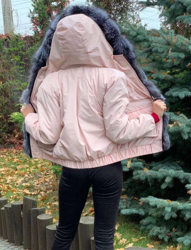 Парка бомбер с мехом чернобурки с чернобуркой - Фото 4