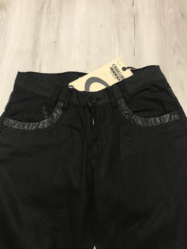 Льняные черные мужские брюки - Фото 3