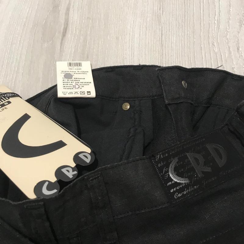 Льняные черные мужские брюки - Фото 4
