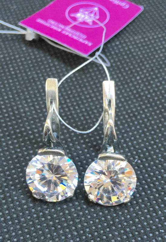 Новые красивые серебряные серьги куб.цирконий чернение серебро...