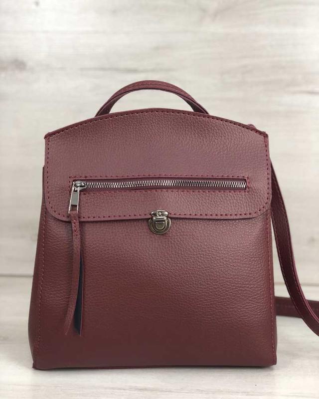 Молодежный сумка-рюкзак бордового цвета