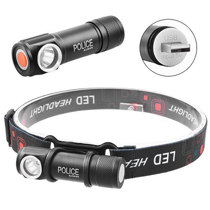 Налобный фонарь Police BL-2155, встроенный аккумулятор, ЗУ USB...