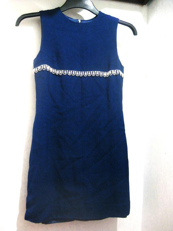 Элегантное платье синее с жемчужными бусинами жемчуг лён льнян...