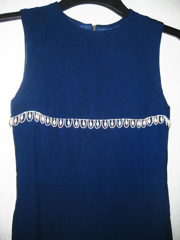 Элегантное платье синее с жемчужными бусинами жемчуг лён льнян... - Фото 2
