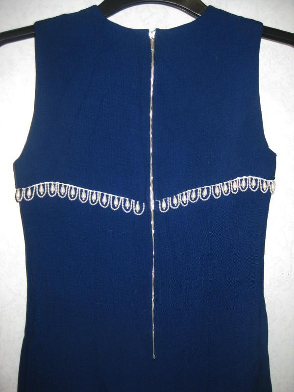 Элегантное платье синее с жемчужными бусинами жемчуг лён льнян... - Фото 3