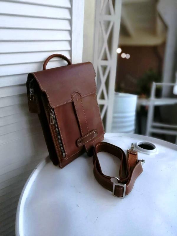 Эксклюзивная мужская сумка из натуральной кожи ручной работы рыжи