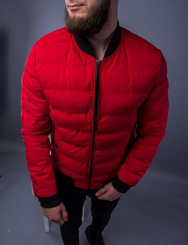 Бомбер куртка мужская пуховик стеганая красная / курточка...