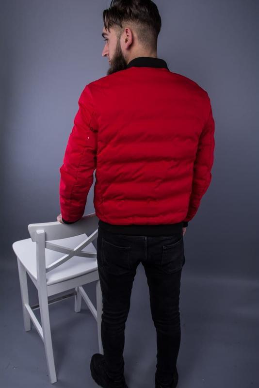 Бомбер куртка мужская пуховик стеганая красная / курточка... - Фото 2