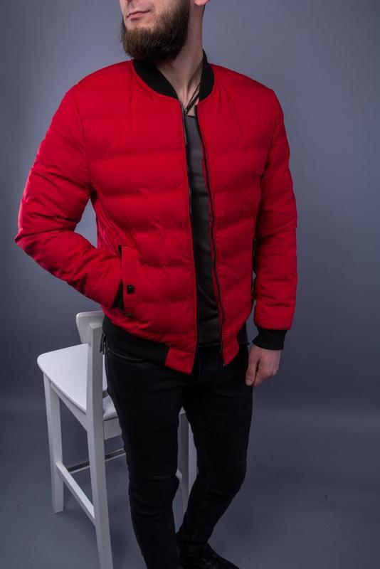 Бомбер куртка мужская пуховик стеганая красная / курточка... - Фото 3