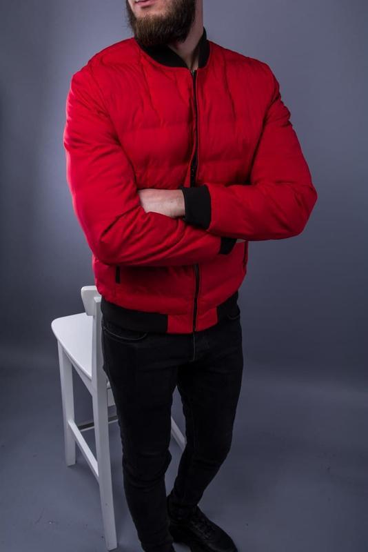Бомбер куртка мужская пуховик стеганая красная / курточка... - Фото 4