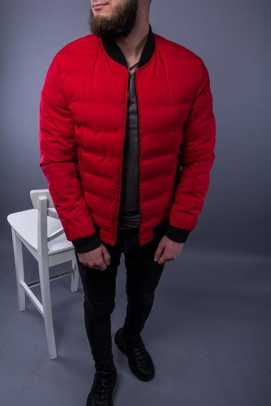 Бомбер куртка мужская пуховик стеганая красная / курточка... - Фото 5
