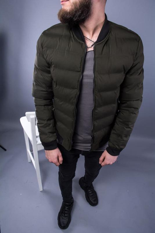 Бомбер куртка мужская пуховик стеганая хаки / курточка чоловіча - Фото 2