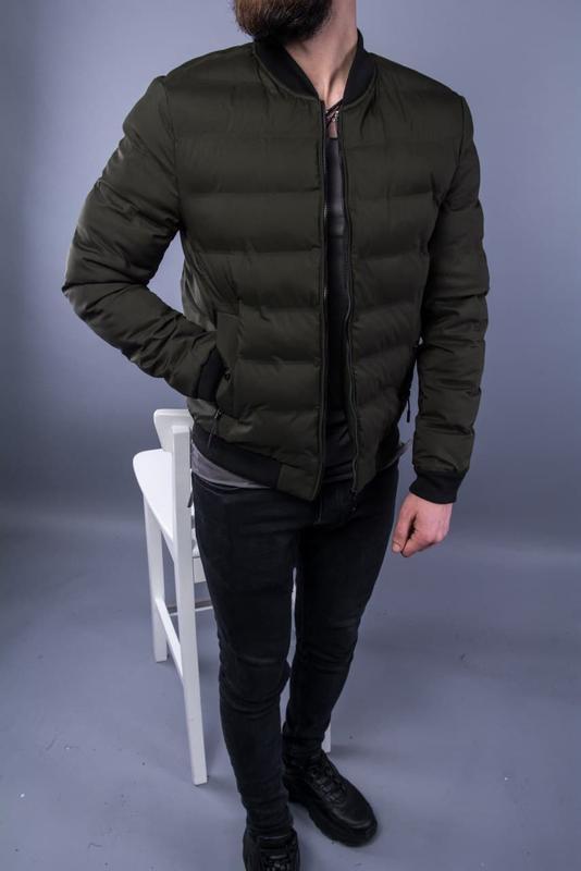 Бомбер куртка мужская пуховик стеганая хаки / курточка чоловіча - Фото 4