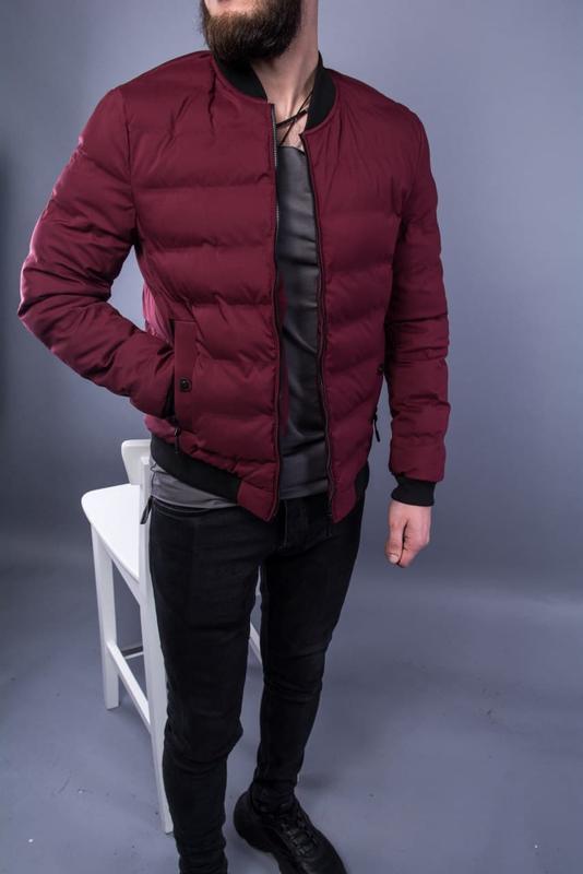 Бомбер куртка мужская пуховик стеганая бордовая / курточка... - Фото 2