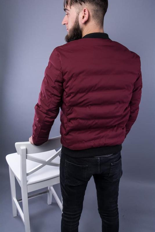 Бомбер куртка мужская пуховик стеганая бордовая / курточка... - Фото 4