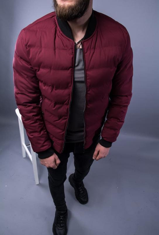 Бомбер куртка мужская пуховик стеганая бордовая / курточка... - Фото 5