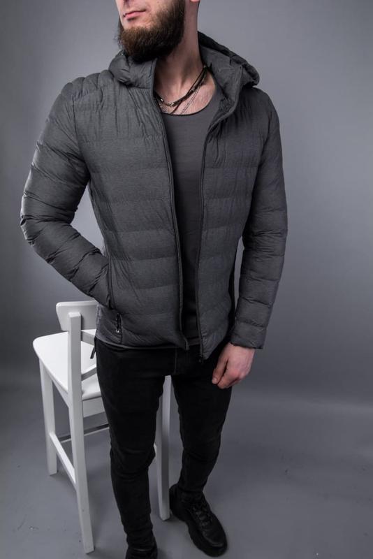 Куртка пуховик мужская стеганая серая / курточка пуховік чоловіча - Фото 2