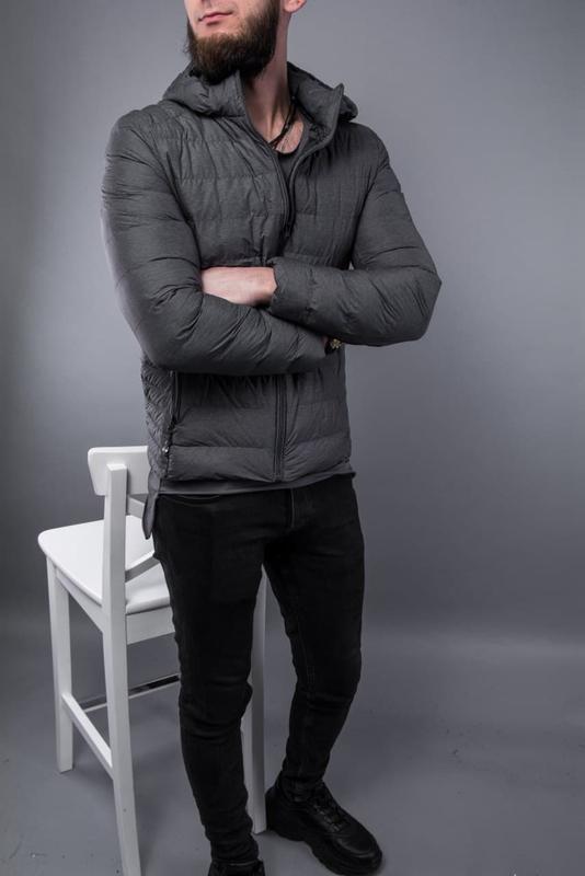 Куртка пуховик мужская стеганая серая / курточка пуховік чоловіча - Фото 3