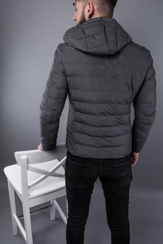 Куртка пуховик мужская стеганая серая / курточка пуховік чоловіча - Фото 4