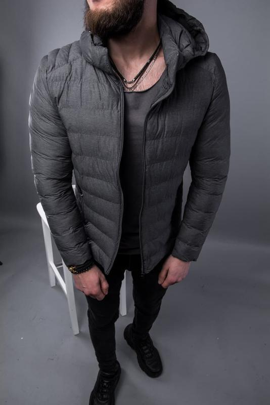 Куртка пуховик мужская стеганая серая / курточка пуховік чоловіча - Фото 5