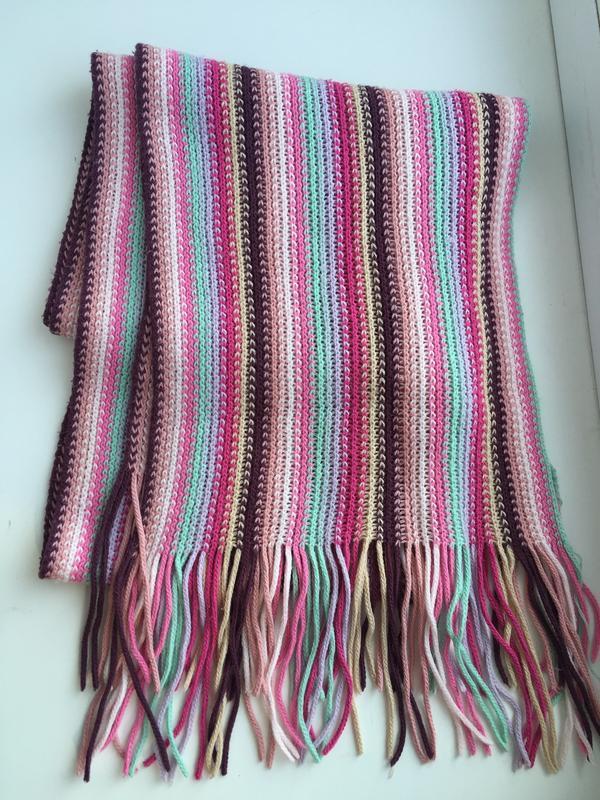Теплый шерстяной шарф итальянский, зимний шарфик, яркий, розовый
