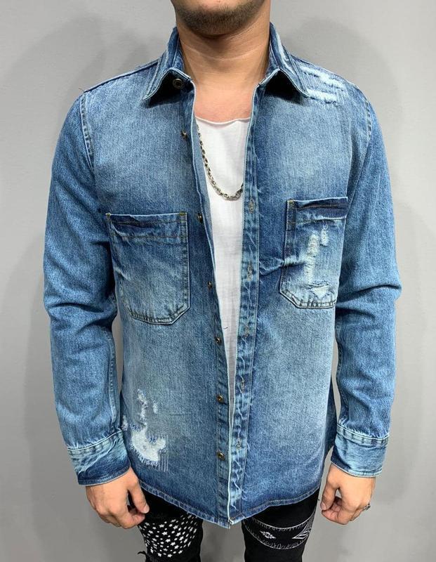 Рубашка джинсовая мужская рваная синяя / сорочка чоловіча джин...