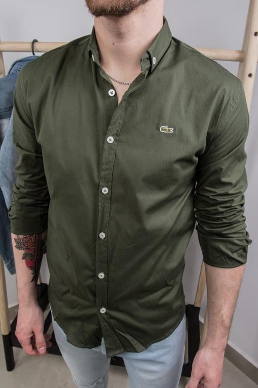 Рубашка мужская базовая lacoste зеленая / сорочка чоловіча руб...