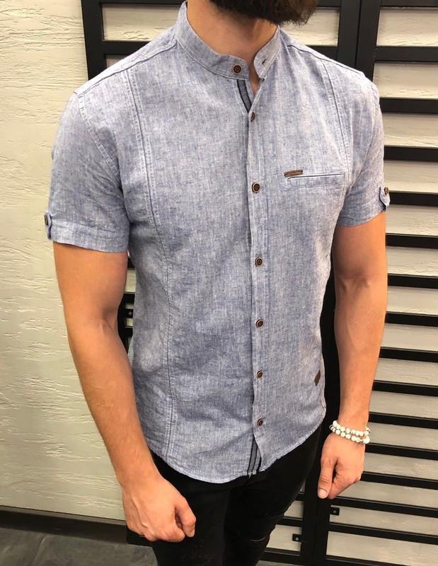 Рубашка мужская базовая с коротким рукавом синяя / сорочка чол...