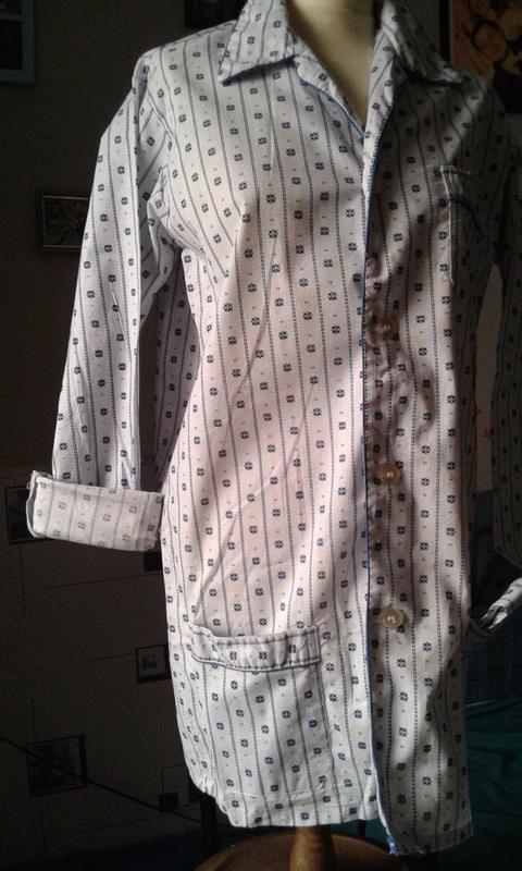 Рубашка-блуза длинная -стильный хлопковый винтажный жакет р 48-50