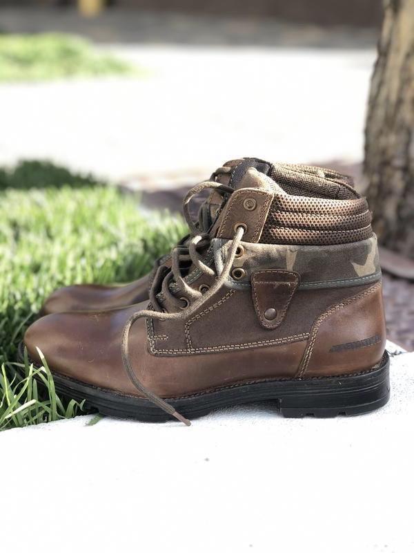 Мужские коричневые демисезонные ботинки из натуральной кожи лю...