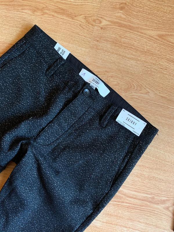 Чёрные скини брюки шерсть как космос с вкраплением нитей topman